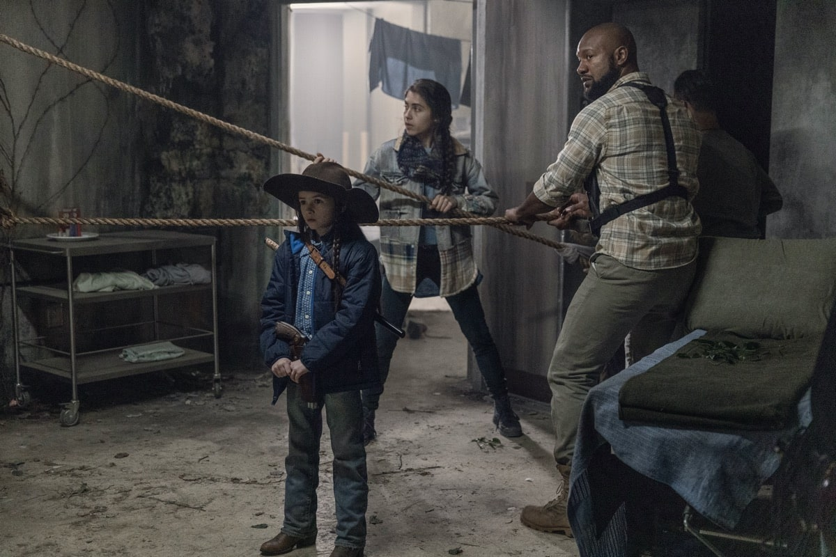 Cailey Fleming as Judith Grimes, Avianna Mynhier as Rachel, Kenric Green as Scott - The Walking Dead _ Season 10, Episode 16 - Photo Credit: Jackson Lee Davis/AMC