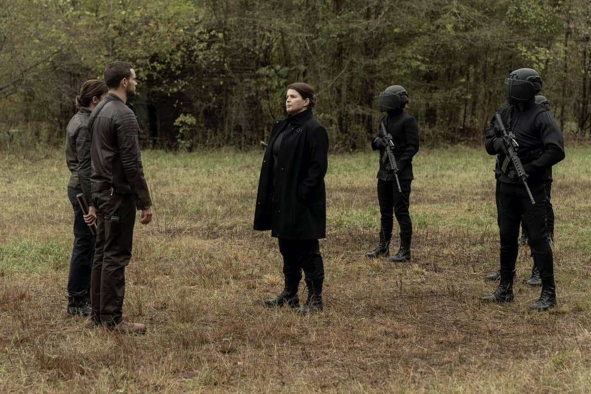 Annet Mahendru as Huck, Nico Tortorella as Felix, Julia Ormond as Elizabeth - The Walking Dead: World Beyond _ Season 1, Episode 1 - Photo Credit: Zach Dilgard/AMC