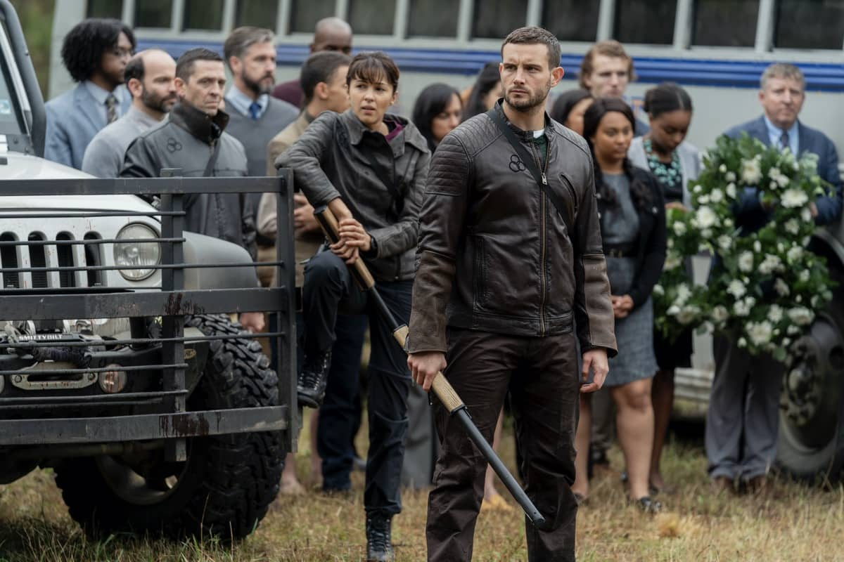 Annet Mahendru as Huck, Nico Tortorella as Felix, Aliyah Royale as Iris - The Walking Dead: World Beyond _ Season 1, Episode 1 - Photo Credit: Zach Dilgard/AMC