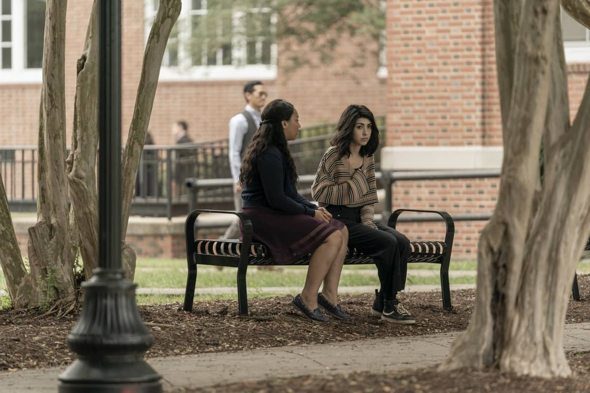Alexa Mansour as Hope, Aliyah Royale as Iris - The Walking Dead: World Beyond _ Season 1, Episode 1 - Photo Credit: Zach Dilgard/AMC