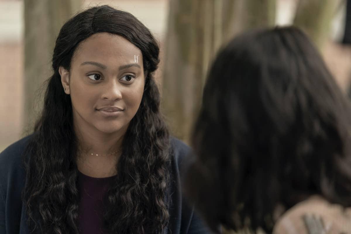 Alexa Mansour as Hope, Aliyah Royale as Iris- The Walking Dead: World Beyond _ Season 1, Episode 1 - Photo Credit: Zach Dilgard/AMC