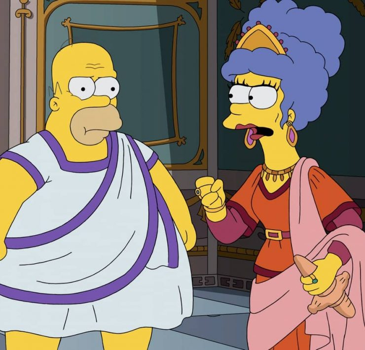 "THE SIMPSONS: At a museum exhibit of Ancient Rome, Marge and Homer get into an argument about Homer's lack of ambition. They then imagine a Roman version of what would happen if Homer was more career-driven in the ""I, Carumbus"" episode of THE SIMPSONS airing Sunday, Oct. 4 (8:00-8:31 PM ET/PT) on FOX. THE SIMPSONS © 2020 by Twentieth Century Fox Film Corporation."