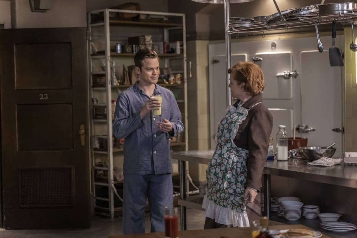 "Supernatural -- ""Last Holiday"" -- Image Number: SN1514A_0090r.jpg -- Pictured (L-R): Alexander Calvert as Jack and Meagen Fay as Mrs. Butters -- Photo: Colin Bentley/The CW -- © 2020 The CW Network, LLC. All Rights Reserved."