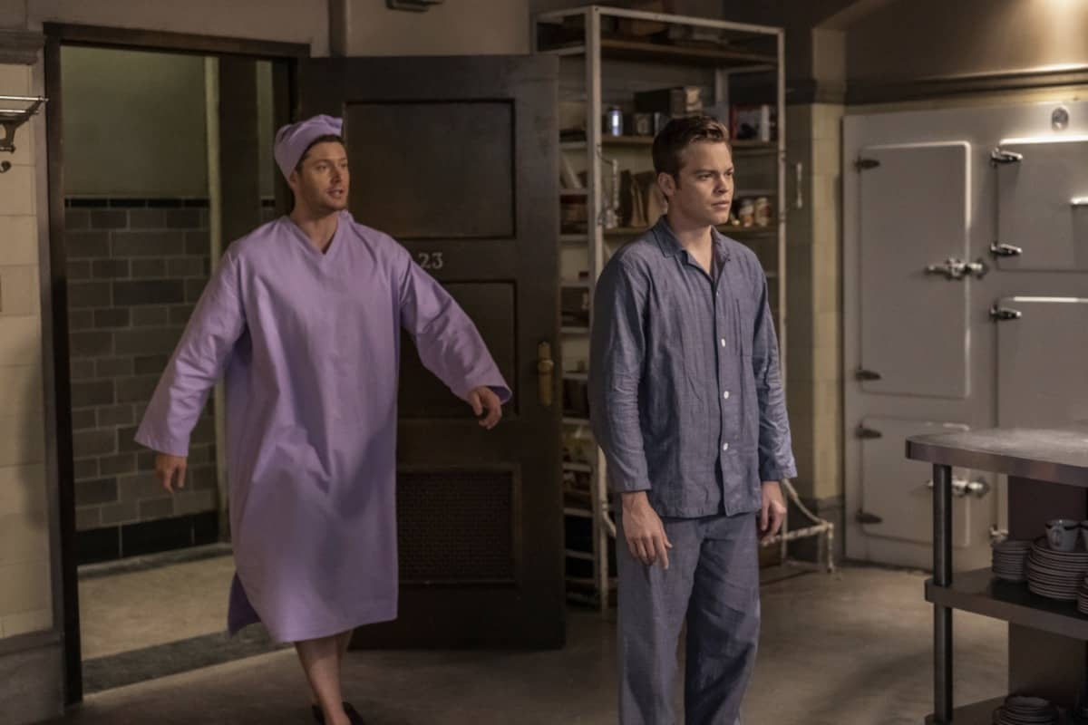"Supernatural -- ""Last Holiday"" -- Image Number: SN1514A_0309r.jpg -- Pictured (L-R): Jensen Ackles as Dean and Alexander Calvert as Jack -- Photo: Colin Bentley/The CW -- © 2020 The CW Network, LLC. All Rights Reserved."