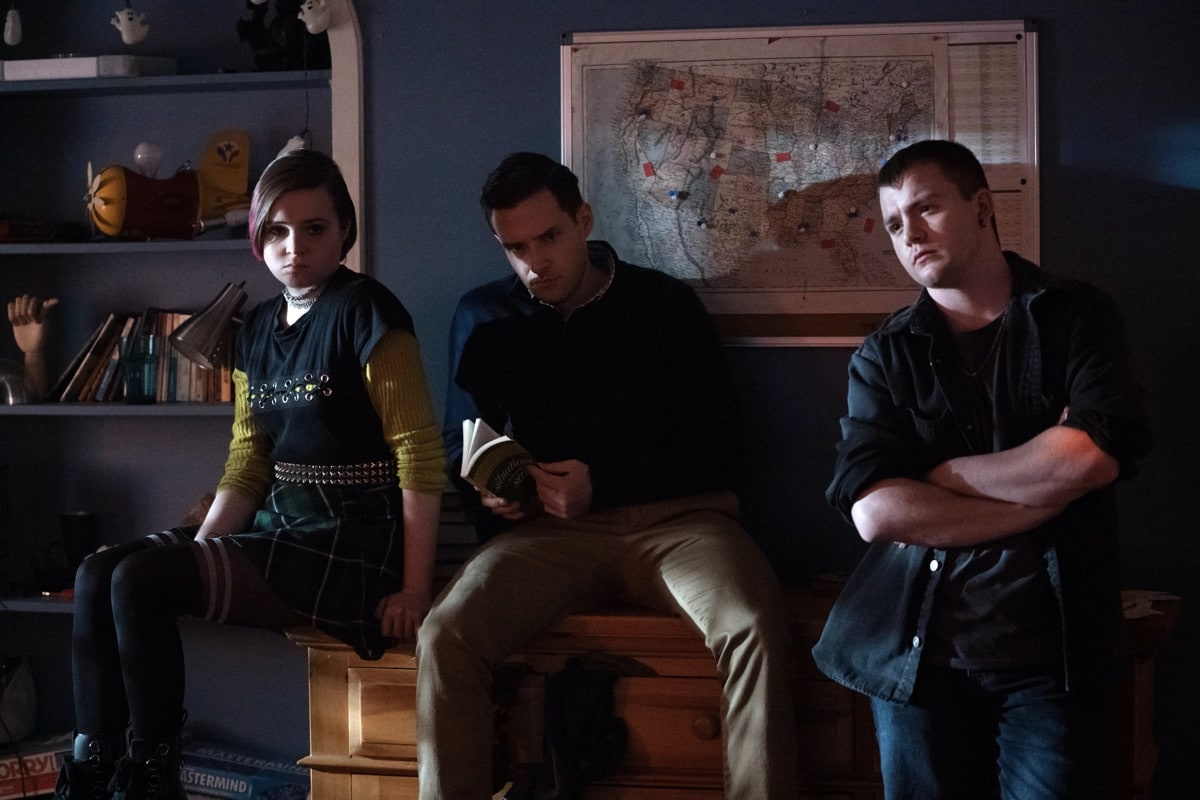 """Monsterland -- """"Eugene, OR"""" -- Episode 102 -- A lonely teen encounters an unwelcome guest. Finalgirl (Nadia Alexander), West (Ben Rappaport), and Dagr (Jack DiFalco), shown. (Photo by: Barbara Nitke/Hulu)"""