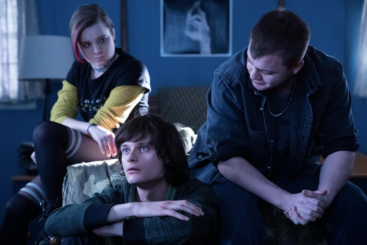 """Monsterland -- """"Eugene, OR"""" -- Episode 102 -- A lonely teen encounters an unwelcome guest. Finalgirl (Nadia Alexander), Nick (Charlie Tahan), and Dagr (Jack DiFalco), shown. (Photo by: Barbara Nitke/Hulu)"""