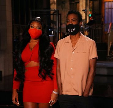 """SATURDAY NIGHT LIVE -- """"Chris Rock"""" Episode 1786 -- Pictured: (l-r) Musical guest Megan Thee Stallion and host Chris Rock during Promos in Studio 8H on Thursday, October 1, 2020 -- (Photo by: Rosalind O'Connor/NBC)"""