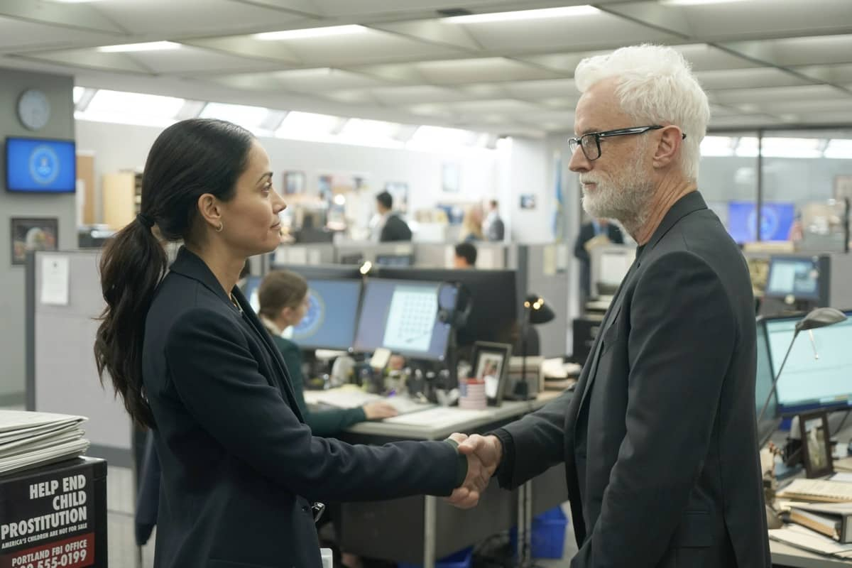 "NEXT: L-R: Fernanda Andrade and John Slattery in the ""File #1"" season premiere episode of NEXT airing Tuesday, Oct. 6 (9:00-10:00 PM ET/PT) on FOX. © 2020 FOX MEDIA LLC. Cr: Cr: Ed Araquel / FOX."
