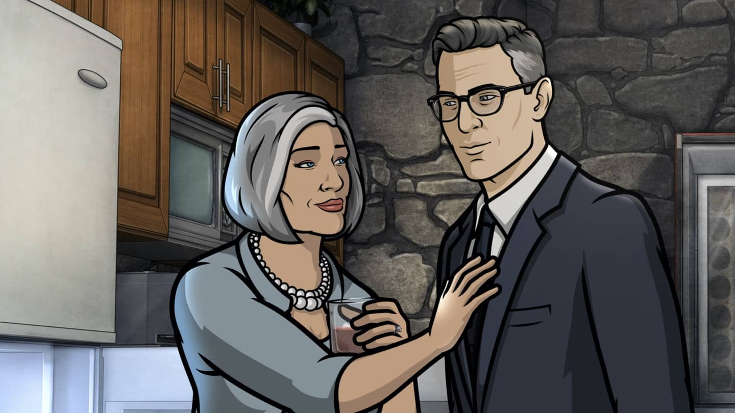 "ARCHER -- ""Best Friends"" -- Season 11, Episode 5 (Airs October 7) Pictured: Malory Archer (voice of Jessica Walter), Aleister (voice of Simon Pegg). CR: FXX"