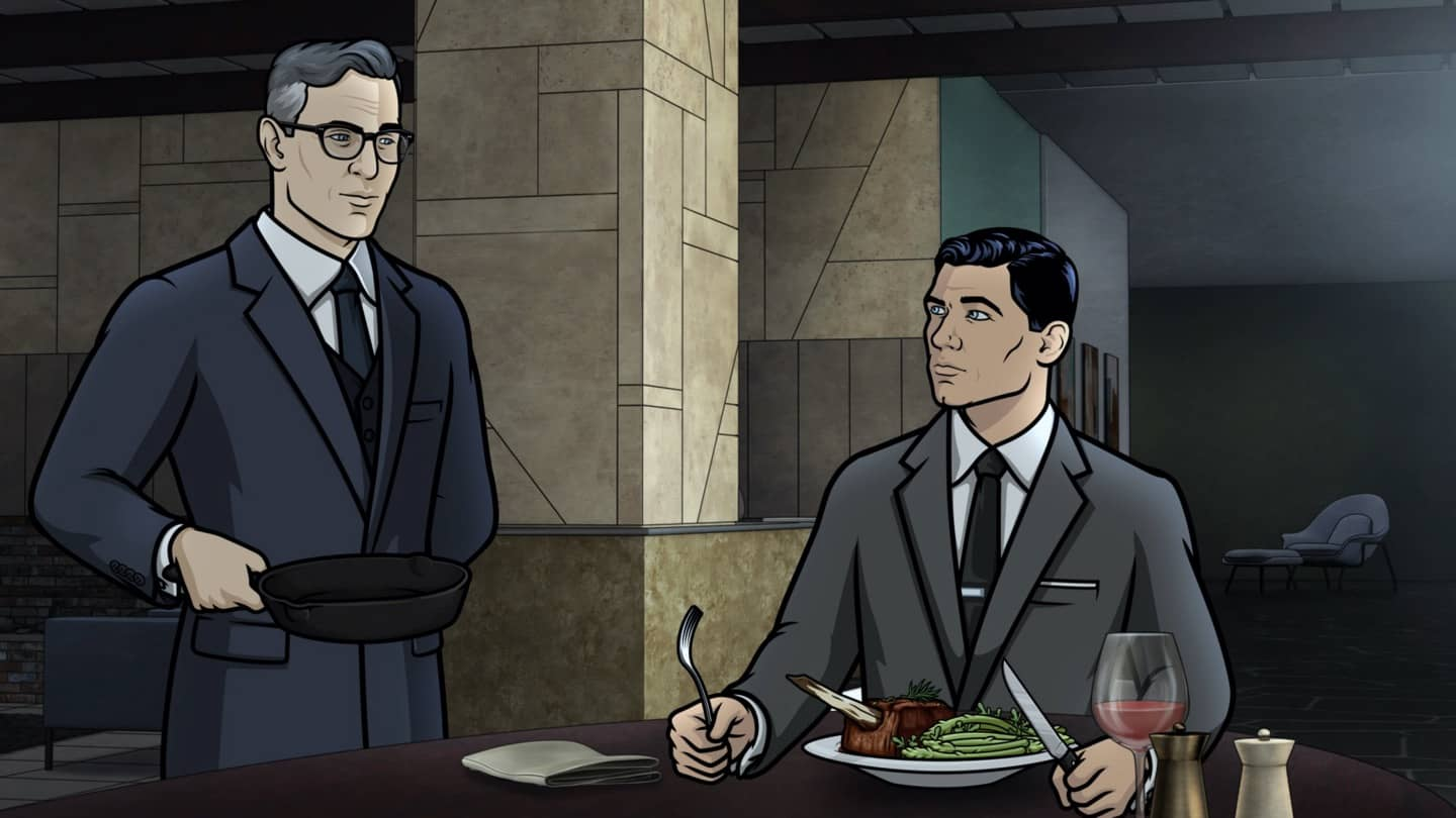 "ARCHER -- ""Best Friends"" -- Season 11, Episode 5 (Airs October 7) Pictured: Aleister (voice of Simon Pegg), Sterling Archer (voice of H. Jon Benjamin). CR: FXX"