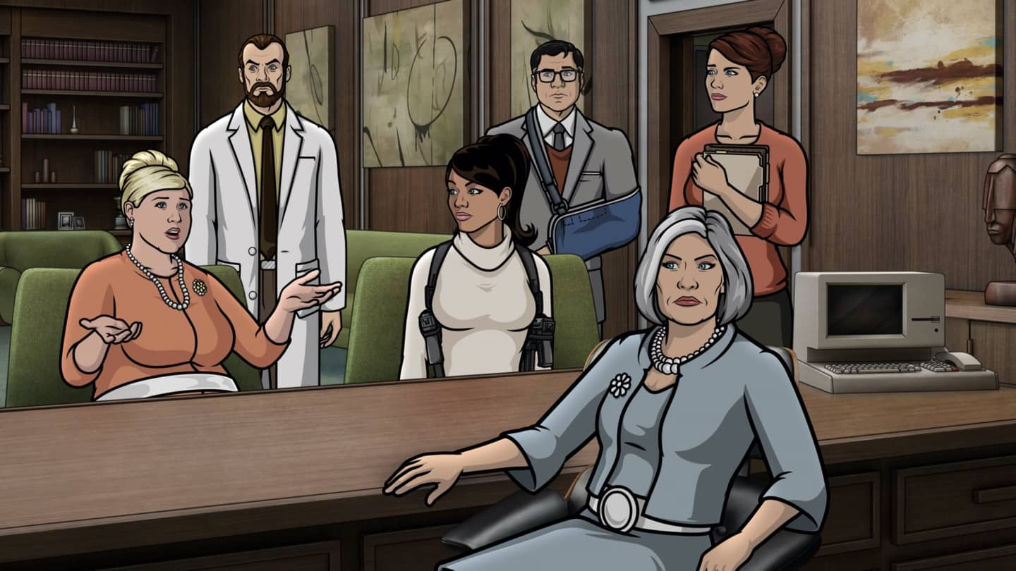 "ARCHER -- ""Best Friends"" -- Season 11, Episode 5 (Airs October 7) Pictured: Pam Poovey (voice of Amber Nash), Algernop Krieger (voice of Lucky Yates), Lana Kane (voice of Aisha Tyler), Cyril Figgis (voice of Chris Parnell), Malory Archer (voice of Jessica Walter), Cheryl/Carol Tunt (voice of Judy Greer). CR: FXX"