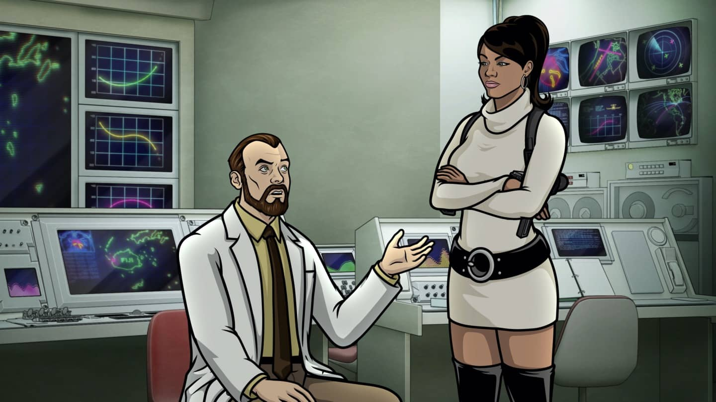"ARCHER -- ""Best Friends"" -- Season 11, Episode 5 (Airs October 7) Pictured: Algernop Krieger (voice of Lucky Yates), Lana Kane (voice of Aisha Tyler). CR: FXX"