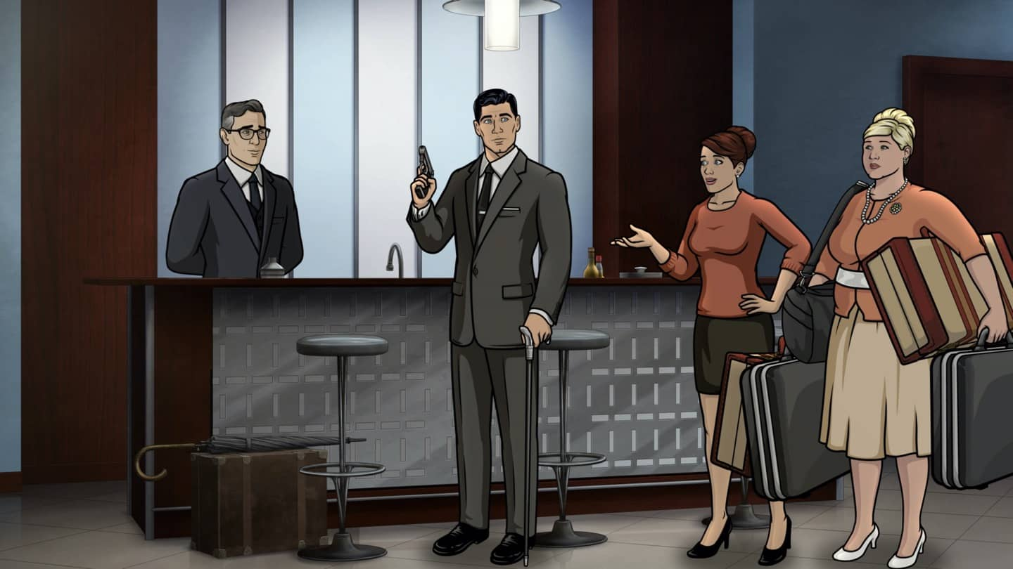 "ARCHER -- ""Best Friends"" -- Season 11, Episode 5 (Airs October 7) Pictured: Aleister (voice of Simon Pegg), Sterling Archer (voice of H. Jon Benjamin), Cheryl/Carol Tunt (voice of Judy Greer), Pam Poovey (voice of Amber Nash). CR: FXX"