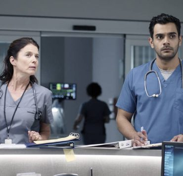 "TRANSPLANT -- ""Eid"" Episode 105 -- Pictured: (l-r) Torri Higginson as Claire Malone, Hamza Haq as Dr. Bashir ""Bash"" Hamed -- (Photo by: Yan Turcotte/Sphere Media/CTV/NBC)"
