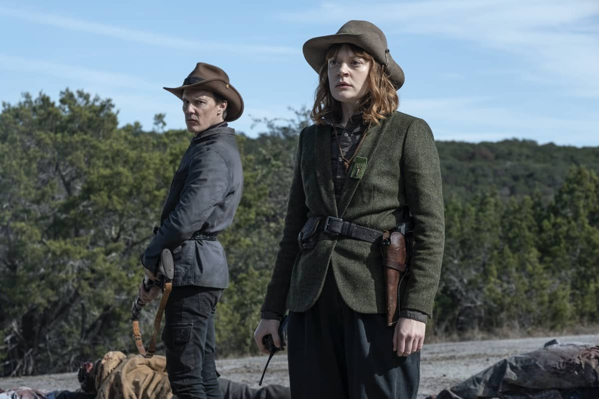 Colby Minifie as Virginia, Craig Nigh as Hill - Fear the Walking Dead _ Season 6, Episode 1 - Photo Credit: Ryan Green/AMC