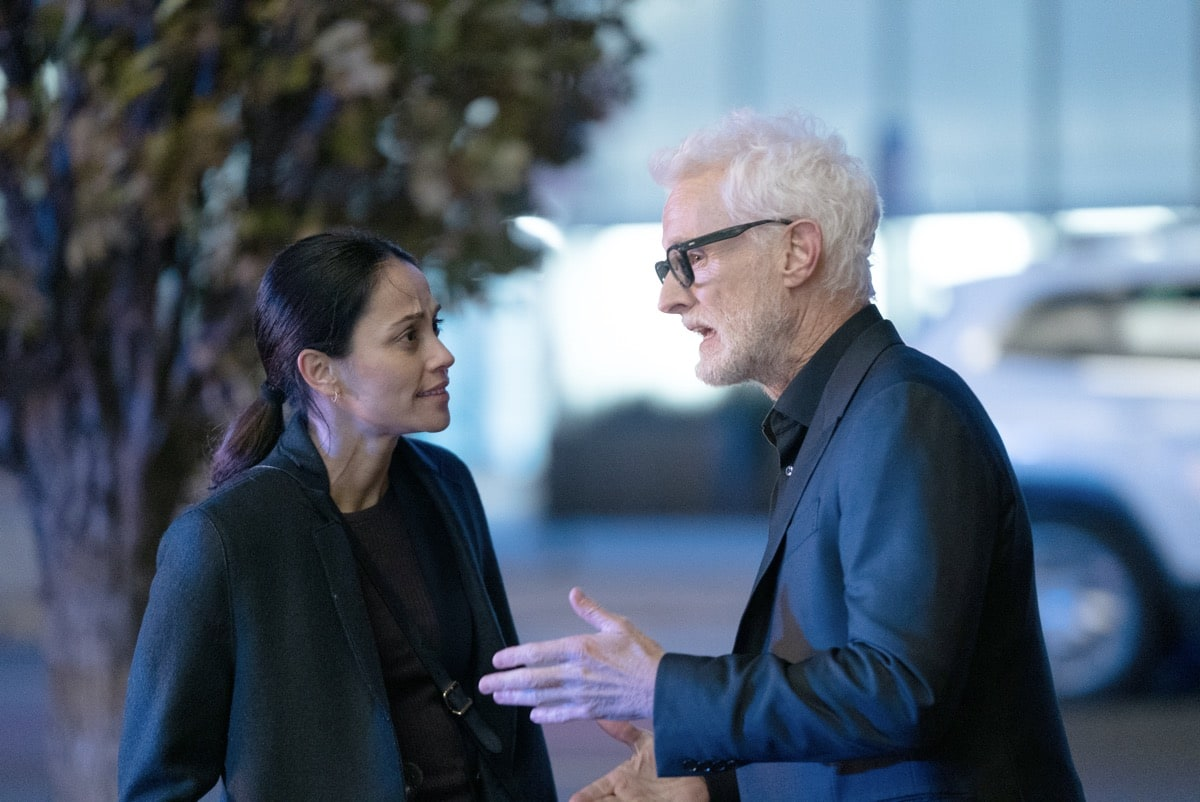 "NEXT: L-R: Fernanda Andrade and John Slattery in the ""File #2"" episode of NEXT airing Tuesday, Oct. 13 (9:00-10:00 PM ET/PT) on FOX. © 2020 FOX MEDIA LLC. Cr: Jean Whiteside/FOX."