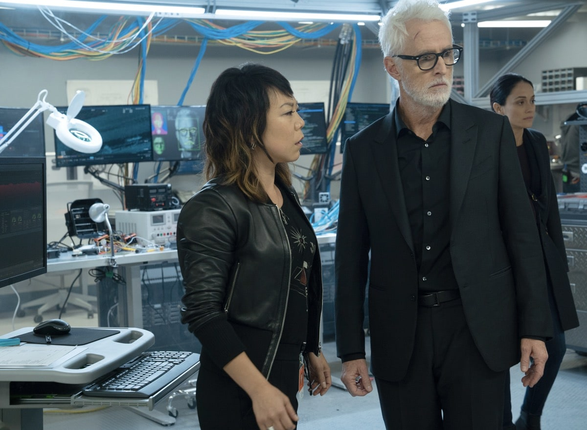 "NEXT: L-R: Guest star Ali Ahn, John Slattery and Fernanda Andrade in the ""File #2"" episode of NEXT airing Tuesday, Oct. 13 (9:00-10:00 PM ET/PT) on FOX. © 2020 FOX MEDIA LLC. Cr: Jean Whiteside/FOX."
