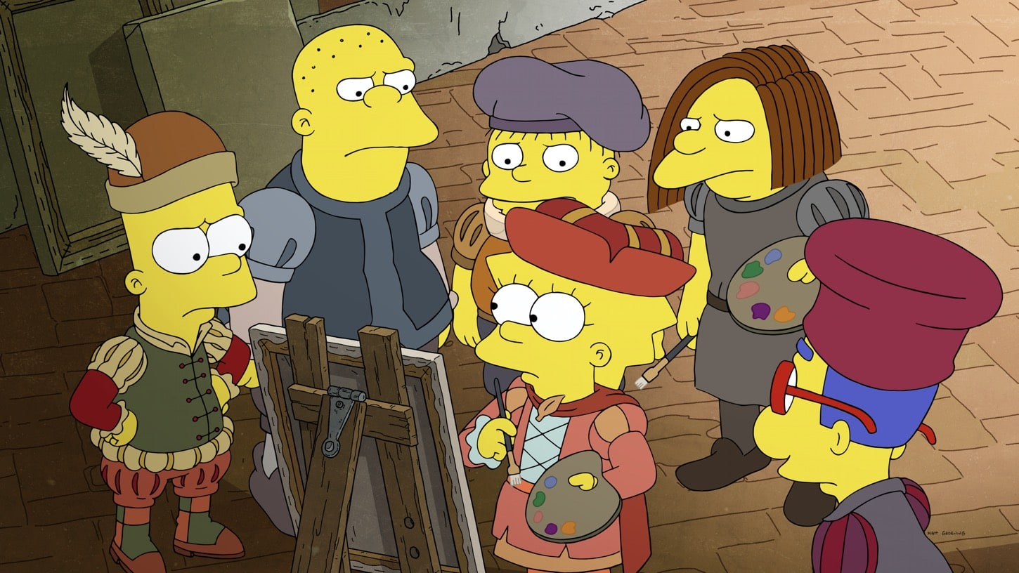 THE SIMPSONS: Lisa stays home from school to explore the wonders of Western art. She appears as Lisanardo, while Bart takes the shape of a French impressionist, Homer and Marge as Diego Rivera and Frida Kahlo, and Maggie as a warrior Cupid in the ìNow Museum, Now You Don'tî episode of THE SIMPSONS airing Sunday, Oct. 11 (8:00-8:31 PM ET/PT) on FOX. THE SIMPSONS © 2020 by Twentieth Century Fox Film Corporation.