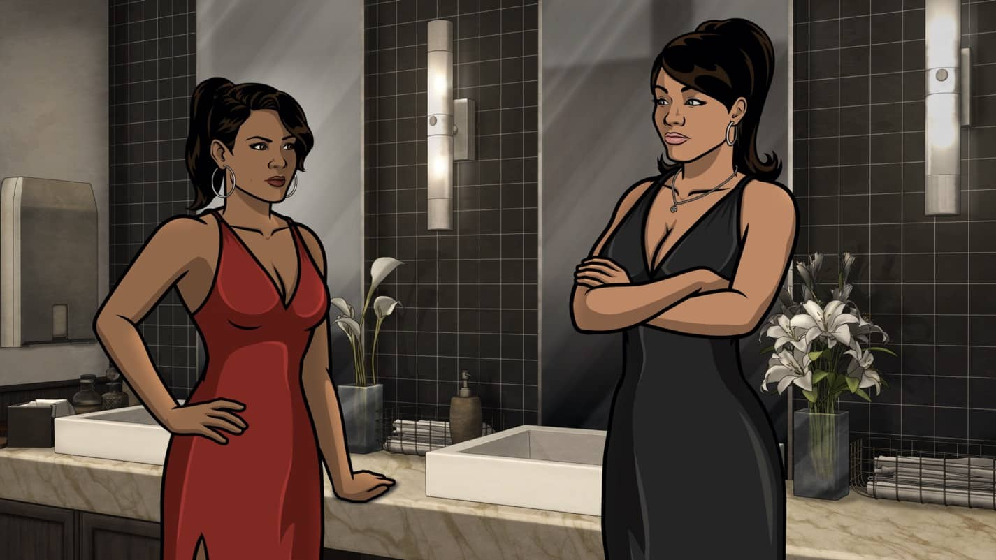 "ARCHER -- ""The Double Date"" -- Season 11, Episode 6 (Airs October 14) Pictured: Gabrielle (voice of Nicole Byer), Lana Kane (voice of Aisha Tyler). CR: FXX"