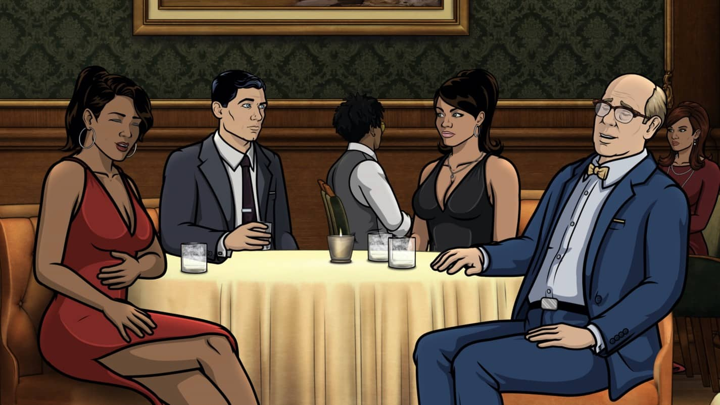 "ARCHER -- ""The Double Date"" -- Season 11, Episode 6 (Airs October 14) Pictured: Gabrielle (voice of Nicole Byer), Sterling Archer (voice of H. Jon Benjamin), Lana Kane (voice of Aisha Tyler), Robert (voice of Stephen Tobolowsky). CR: FXX"
