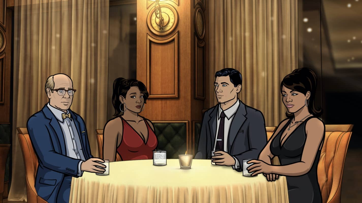 "ARCHER -- ""The Double Date"" -- Season 11, Episode 6 (Airs October 14) Pictured: Robert (voice of Stephen Tobolowsky), Gabrielle (voice of Nicole Byer), Sterling Archer (voice of H. Jon Benjamin), Lana Kane (voice of Aisha Tyler). CR: FXX"