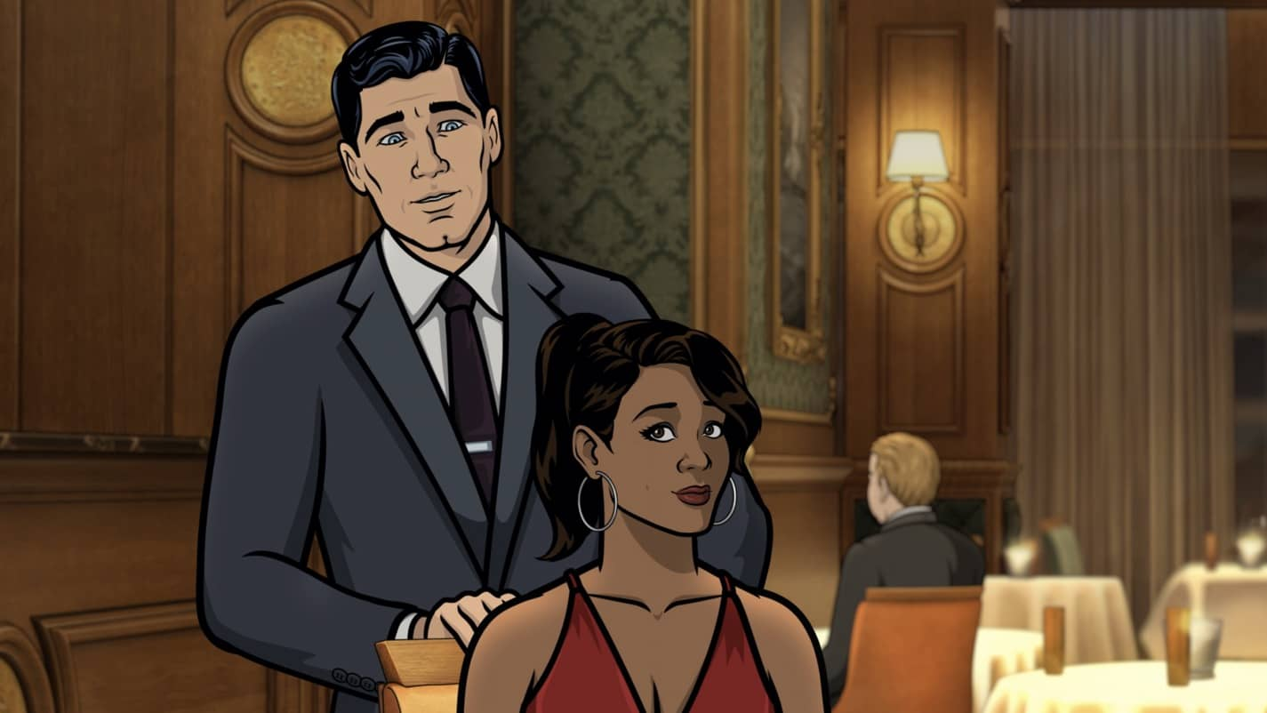 "ARCHER -- ""The Double Date"" -- Season 11, Episode 6 (Airs October 14) Pictured: Sterling Archer (voice of H. Jon Benjamin), Gabrielle (voice of Nicole Byer). CR: FXX"