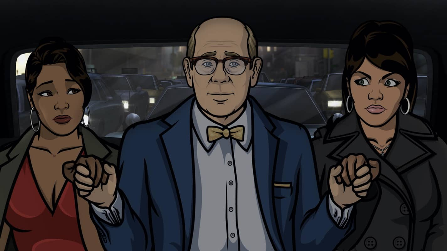 "ARCHER -- ""The Double Date"" -- Season 11, Episode 6 (Airs October 14) Pictured: Gabrielle (voice of Nicole Byer), Robert (voice of Stephen Tobolowsky), Lana Kane (voice of Aisha Tyler). CR: FXX"