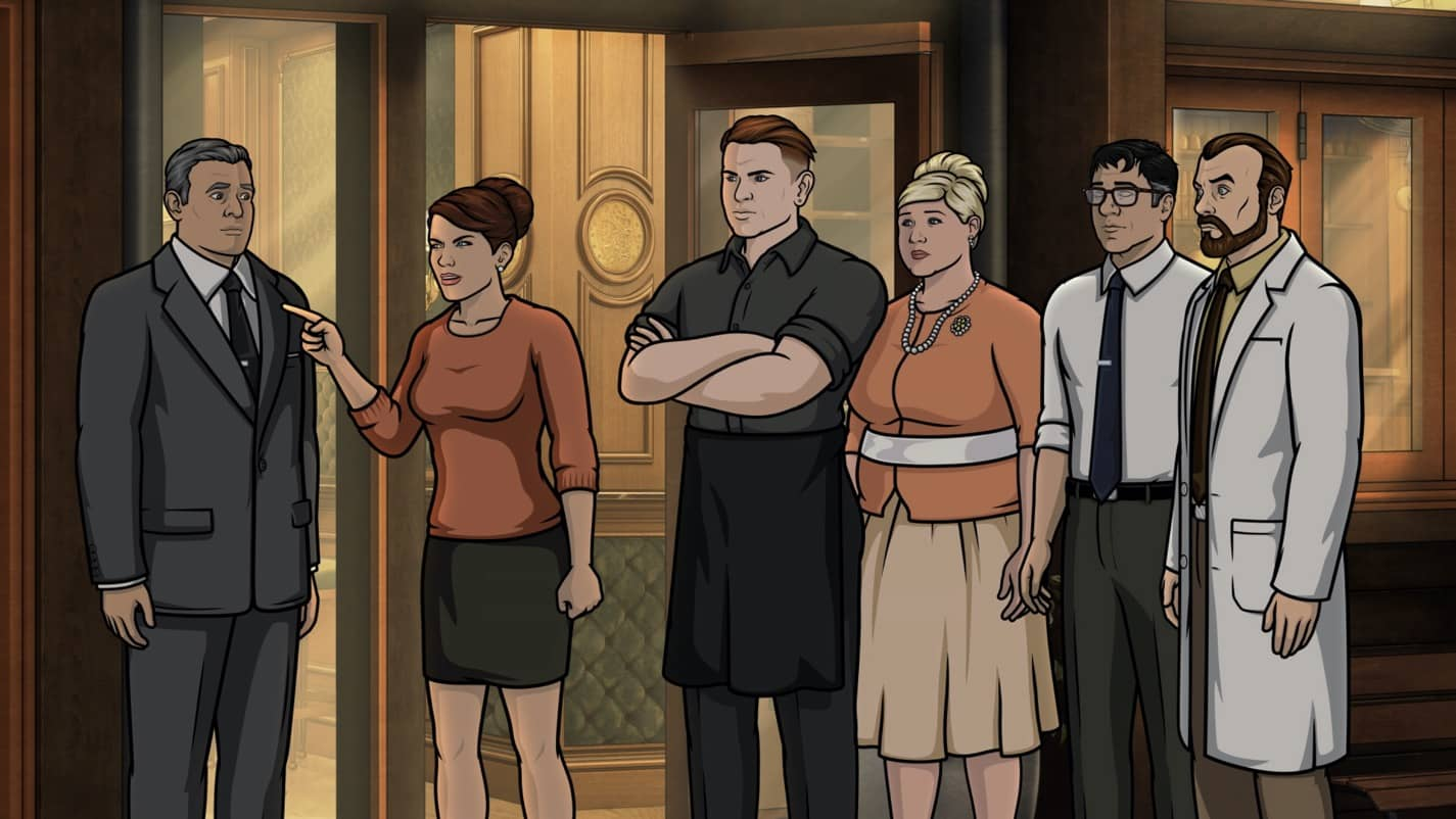 "ARCHER -- ""The Double Date"" -- Season 11, Episode 6 (Airs October 14) Pictured: Cheryl/Carol Tunt (voice of Judy Greer), Pam Poovey (voice of Amber Nash), Cyril Figgis (voice of Chris Parnell), Algernop Krieger (voice of Lucky Yates). CR: FXX"