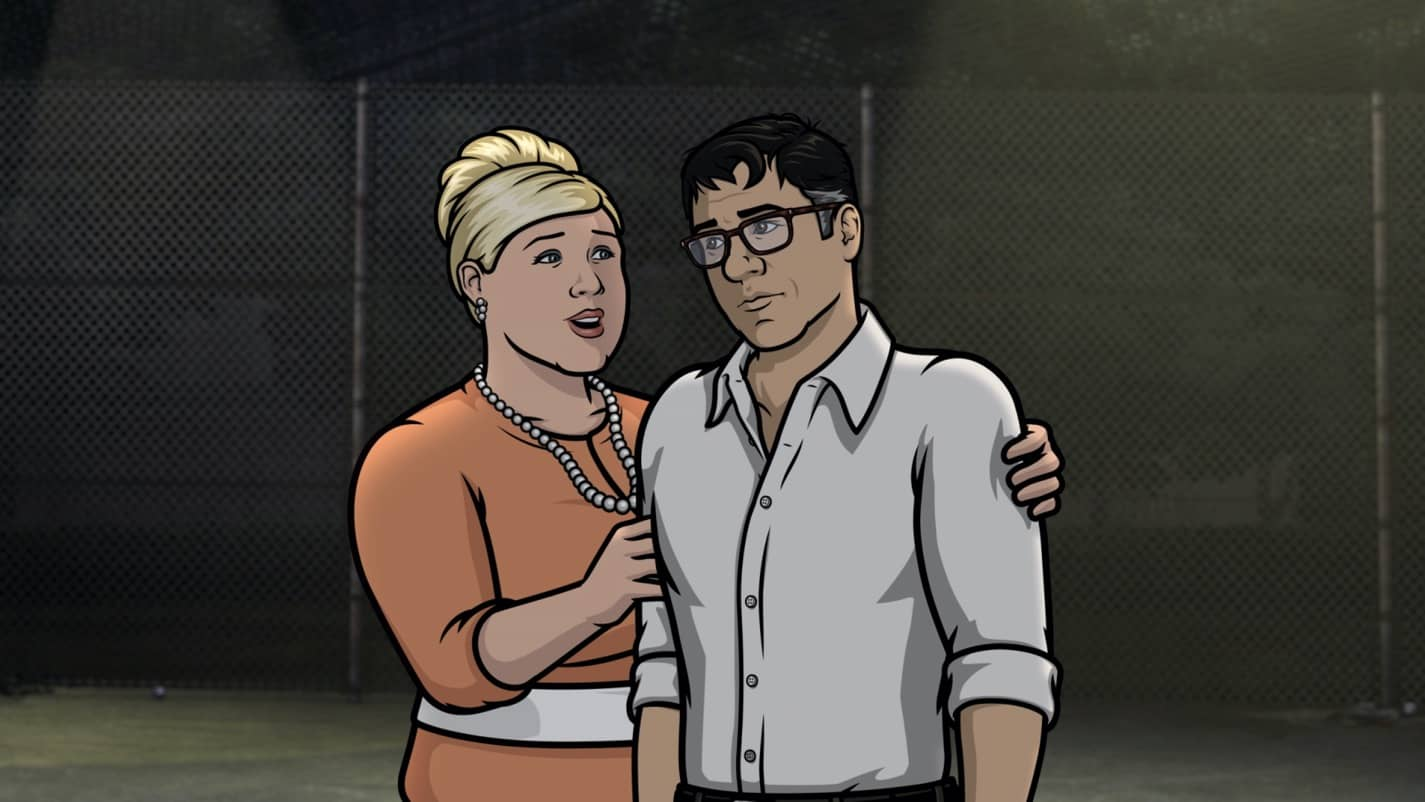 "ARCHER -- ""The Double Date"" -- Season 11, Episode 6 (Airs October 14) Pictured: Pam Poovey (voice of Amber Nash), Cyril Figgis (voice of Chris Parnell). CR: FXX"