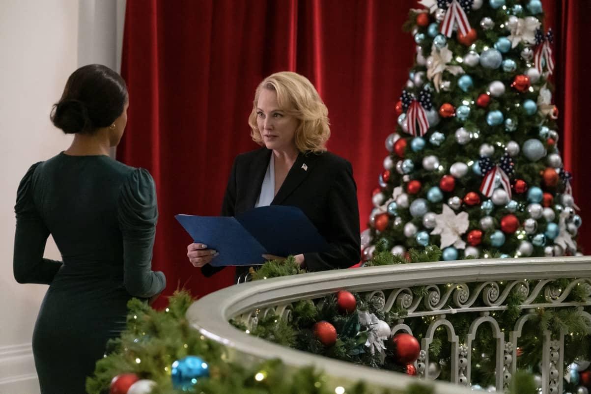 Operation Christmas Drop. Kat Graham as Erica, Virginia Madsen as Bradford in Operation Christmas Drop. Cr. Bettina Strauss//NETFLIX © 2020