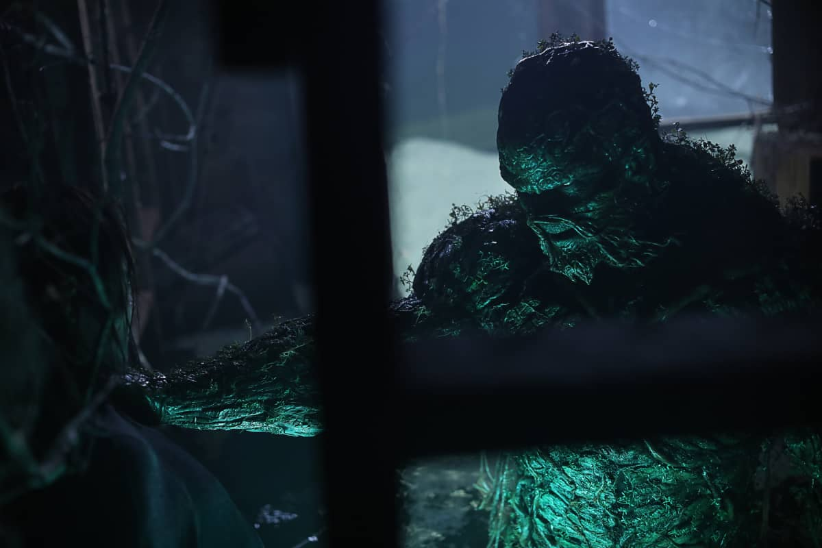 "SWP102 -- ""Worlds Apart"" -- Image Number: SWP102e_0188r -- Pictured: Derek Mears as Swamp Thing -- Photo Credit: Fred Norris/2020 Warner Bros. Entertainment Inc. All Rights Reserved."