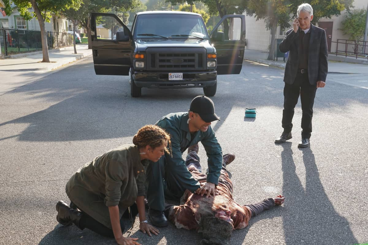 """""""Sturgeon Season"""" -- Gibbs and Fornell (Joe Spano) attempt to track down the leader of a drug ring who supplied drugs to Fornell's daughter. Also, the team deals with the case of a missing cadaver from the NCIS autopsy room, on the 18th season premiere of NCIS, Tuesday, Nov. 17 (8:00-9:00 PM, ET/PT) on the CBS Television Network. Pictured: Victoria Platt as NCIS Special Agent Veronica """"Ronnie"""" Tyler,Wilmer Valderrama as NCIS Special Agent Nicholas """"Nick"""" Torres, Mark Harmon as NCIS Special Agent Leroy Jethro Gibbs. Photo: Sonja Flemming/CBS ©2020 CBS Broadcasting, Inc. All Rights Reserved."""