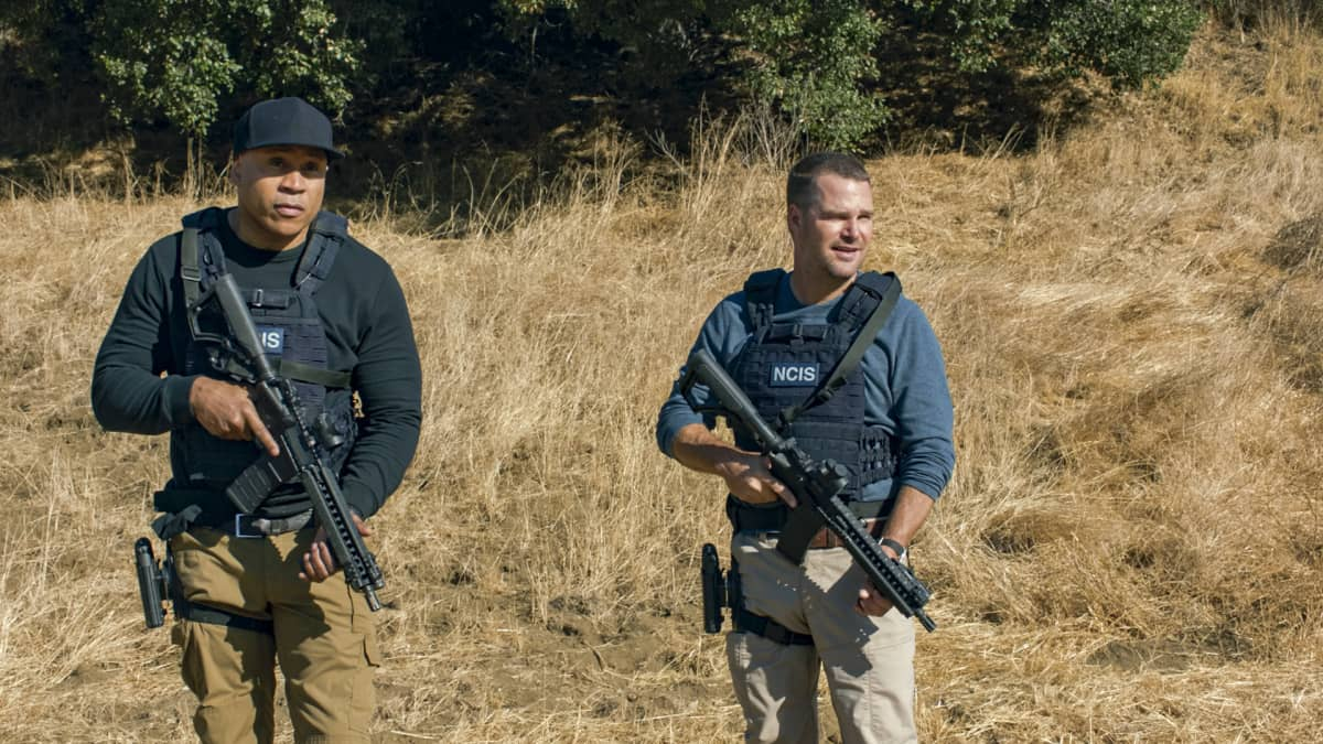 """The Bear"" - Pictured: LL COOL J (Special Agent Sam Hanna) and Chris O'Donnell (Special Agent G. Callen). When a Russian bomber goes missing while flying over U.S. soil, Callen and Sam must track it down in the desert and secure its weapons and intel before the Russians on board destroy the plane. Also, Hetty gives Nell a cryptic assignment, on the 12th season premiere of NCIS: LOS ANGELES, Sunday, Nov. 8 (8:30-9:30 PM, ET/8:00-9:00 PM, PT) on the CBS Television Network. Photo: Screen Grab/CBS ©2020 CBS Broadcasting, Inc. All Rights Reserved."