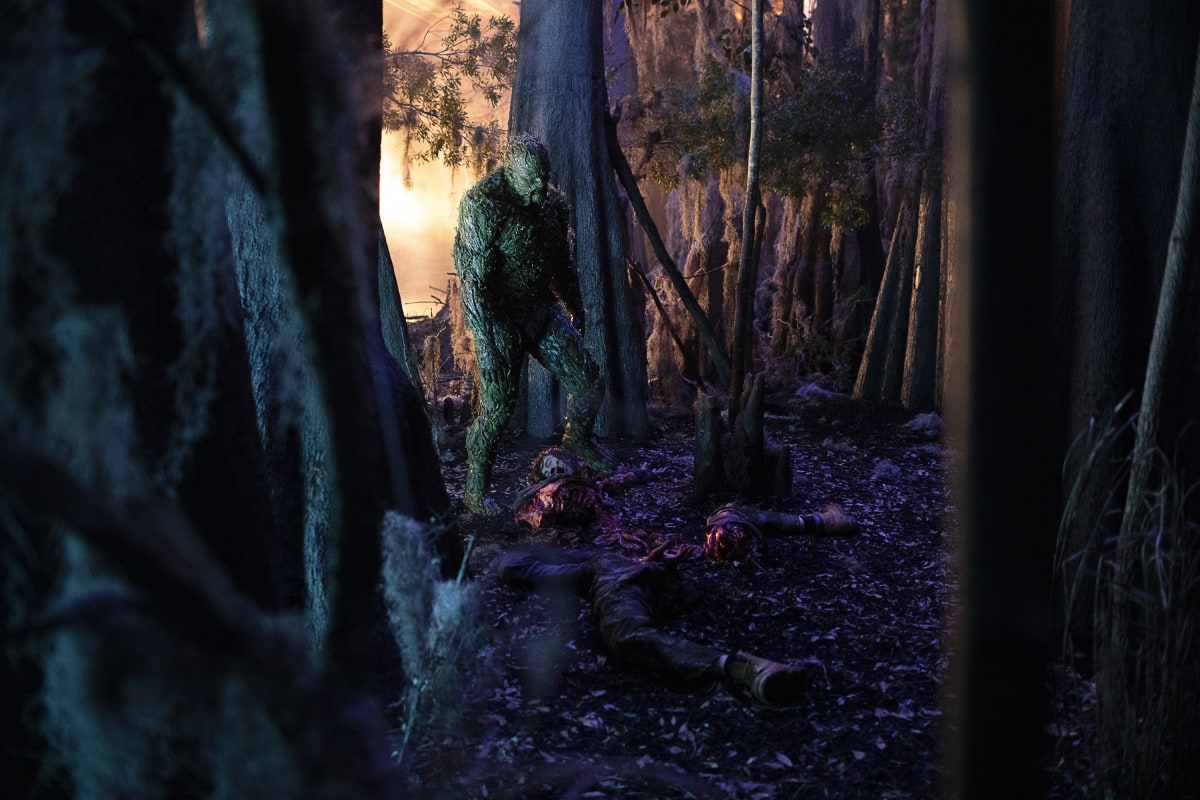 """Swamp Thing -- """"He Speaks"""" -- Image Number: SWP103c_0102 V1 -- Pictured: Derek Mears as Swamp Thing -- Photo: Fred Norris / 2020 Warner Bros. Entertainment Inc. -- © 2020 Warner Bros. Entertainment Inc. All Rights Reserved."""