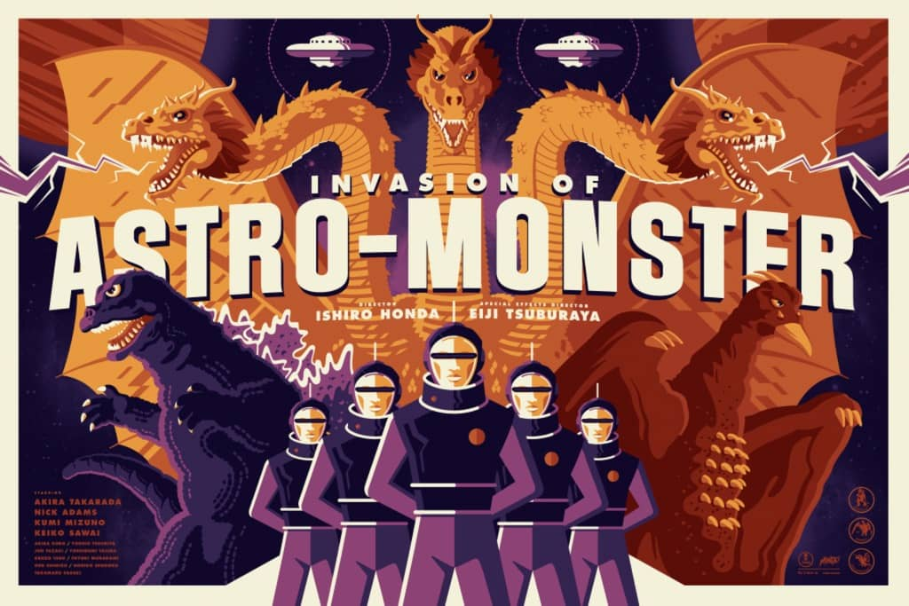 Invasion of Astro-Monster Mondo Poster By Tom Whalen