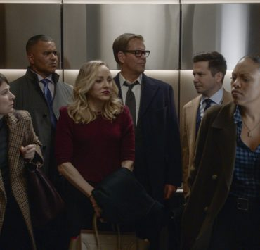 """My Corona"" – Bull and the TAC team struggle to adjust to a virtual court system as they weather the New York City shutdown due to the coronavirus, on the fifth season premiere of BULL, Monday, Nov 16 (10:00-11:00 PM, ET/PT) on the CBS Television Network. Pictured L-R: MacKenzie Meehan as Taylor Rentzel, Christopher Jackson as Chunk Palmer, Geneva Carr as Marissa Morgan, Michael Weatherly as Dr. Jason Bull, Freddy Rodriguez as Benny Col?n, and Jaime Lee Kirchner as Danny James Photo: Screen Grab/CBS ©2020 CBS Broadcasting, Inc. All Rights Reserved"