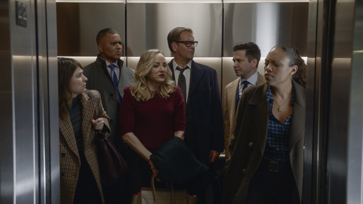 """""""My Corona"""" – Bull and the TAC team struggle to adjust to a virtual court system as they weather the New York City shutdown due to the coronavirus, on the fifth season premiere of BULL, Monday, Nov 16 (10:00-11:00 PM, ET/PT) on the CBS Television Network. Pictured L-R: MacKenzie Meehan as Taylor Rentzel, Christopher Jackson as Chunk Palmer, Geneva Carr as Marissa Morgan, Michael Weatherly as Dr. Jason Bull, Freddy Rodriguez as Benny Col?n, and Jaime Lee Kirchner as Danny James Photo: Screen Grab/CBS ©2020 CBS Broadcasting, Inc. All Rights Reserved"""