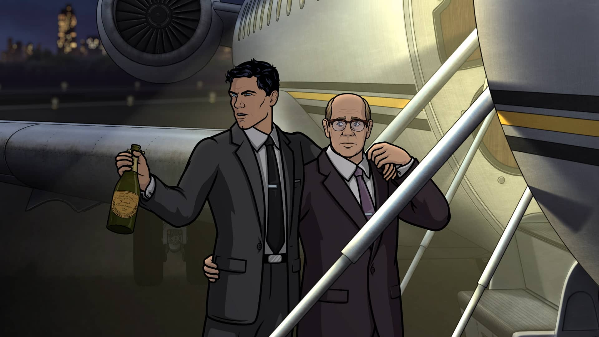 "ARCHER -- ""Caught Napping"" -- Season 11, Episode 7 (Airs October 21) Pictured: Sterling Archer (voice of H. Jon Benjamin), Robert (voice of Stephen Tobolowsky). CR: FXX"
