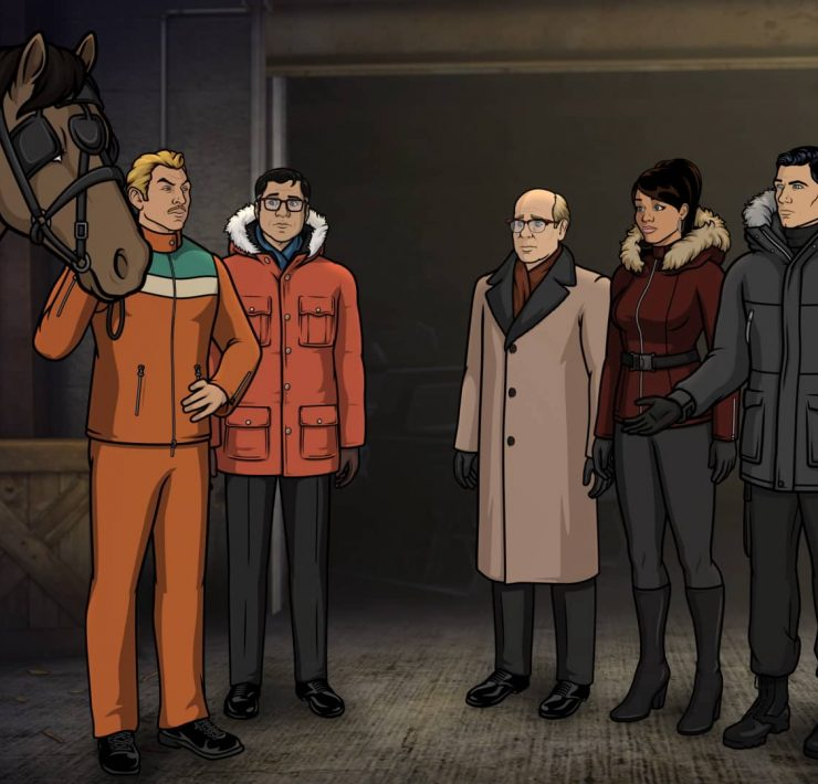 "ARCHER -- ""Caught Napping"" -- Season 11, Episode 7 (Airs October 21) Pictured: Ray Gilette (voice of Adam Reed) , Cyril Figgis (voice of Chris Parnell), Robert (voice of Stephen Tobolowsky), Lana Kane (voice of Aisha Tyler), Sterling Archer (voice of H. Jon Benjamin), Algernop Krieger (voice of Lucky Yates). CR: FXX"