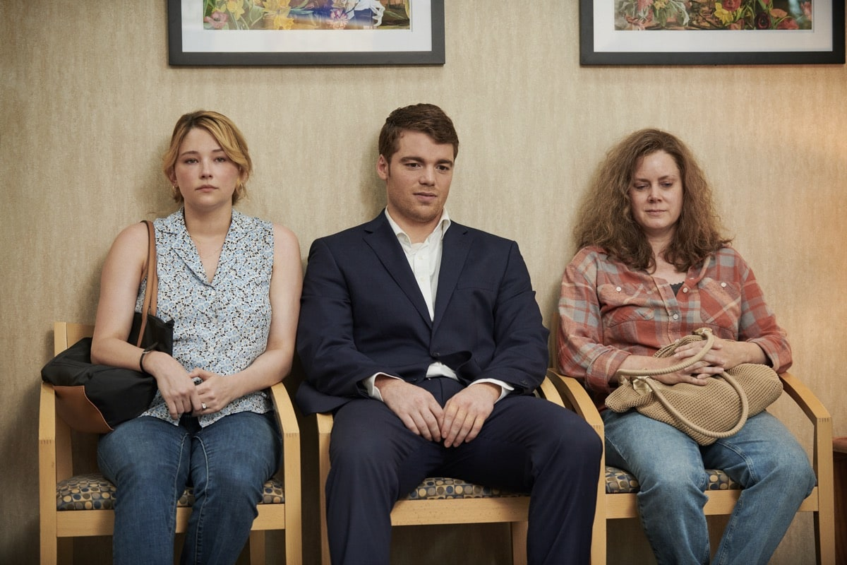 "HILLBILLY ELEGY: (L to R) Haley Bennett (""Lindsay""), Gabriel Basso (J.D. Vance), Amy Adams (""Bev""). Photo Cr. Lacey Terrell/NETFLIX © 2020"