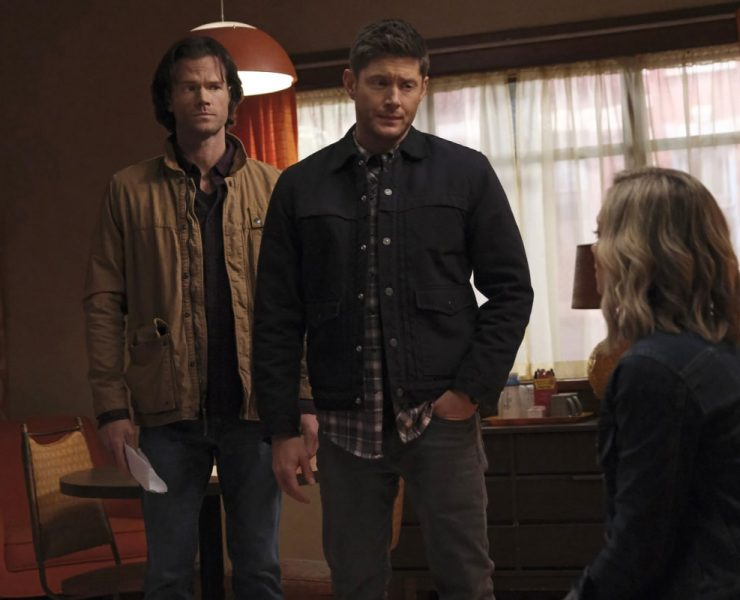 "Supernatural -- ""Drag Me Away (From You)"" -- Image Number: SN1516A_0190r.jpg -- Pictured (L-R): Jared Padalecki as Sam, Jensen Ackles as Dean and Kelsey Crane as Caitlin -- Photo: Bettina Strauss/The CW -- © 2020 The CW Network, LLC. All Rights Reserved."