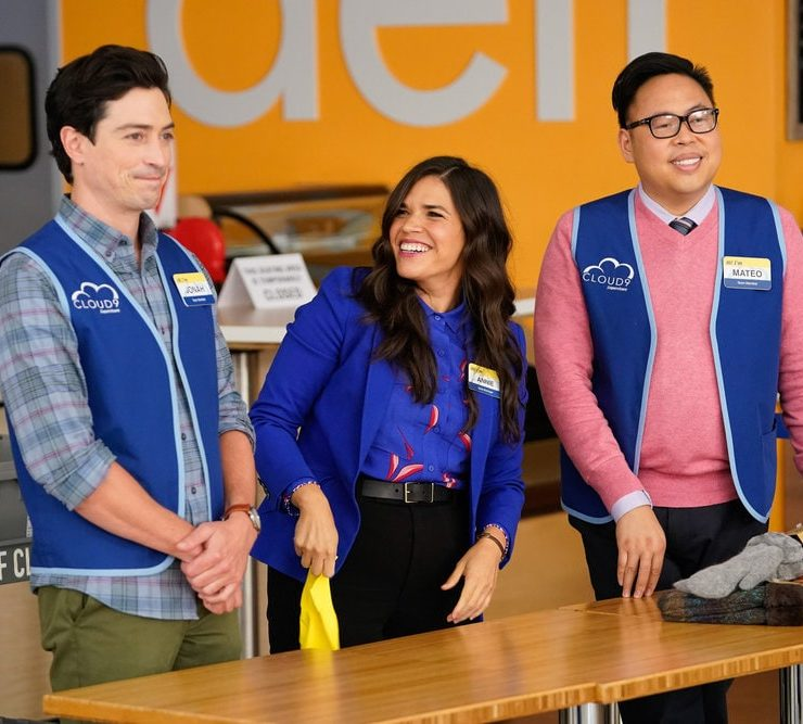 "SUPERSTORE -- ""Essential"" Episode 601 -- Pictured: (l-r) Ben Feldman as Jonah, America Ferrera as Amy, Nico Santos as Mateo -- (Photo by: Greg Gayne/NBC)"