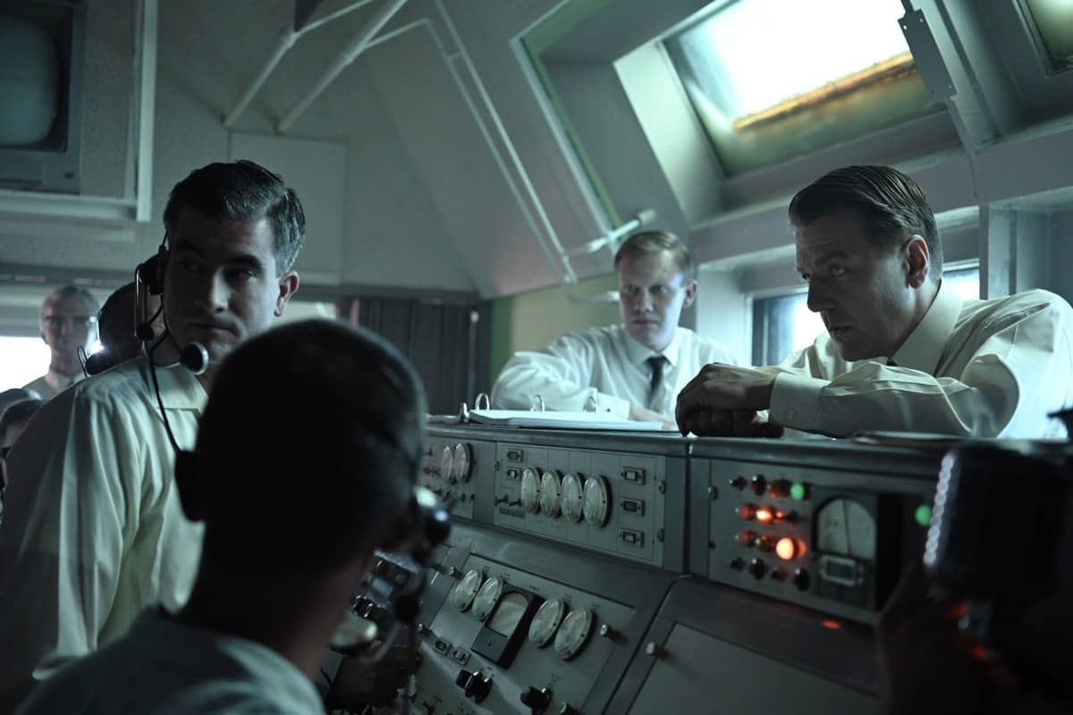 Wernher Von Braun (R) played by Sacha Seberg and team in the block house during a Mercury-Redstone test launch in National Geographic's THE RIGHT STUFF streaming on Disney+. (Credit: National Geographic/Gene Page)