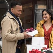 Michael Xavier as Duncan and Tiya Sircar as Ashley star in Christmas on Wheels