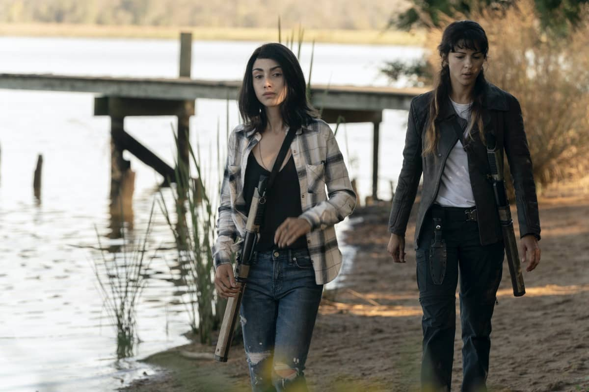 Alexa Mansour as Hope, Annet Mahendru as Huck - The Walking Dead: World Beyond _ Season 1, Episode 5 - Photo Credit: Macall Polay/AMC