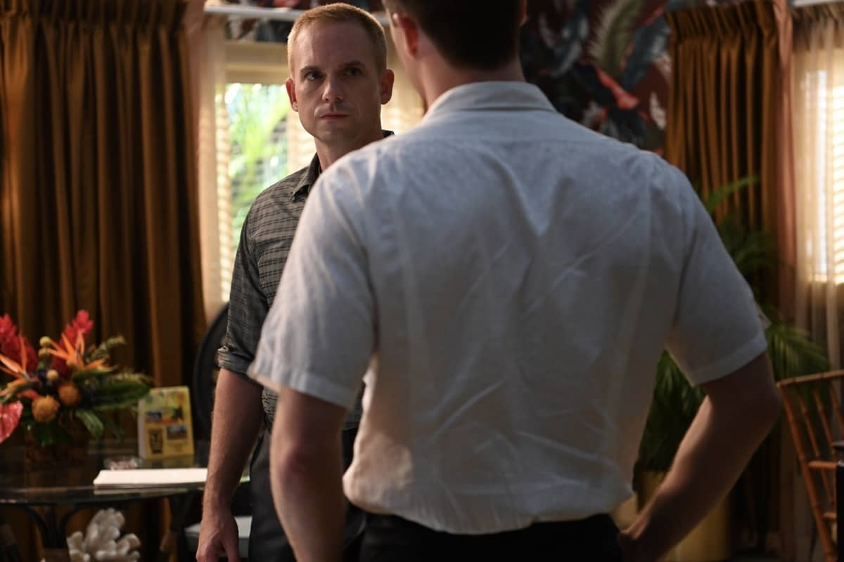 John Glenn (L) played by Patrick J. Adams and Alan Shepard played by Jake McDorman exchange heated words in National Geographic's THE RIGHT STUFF streaming on Disney+. (National Geographic/Gene Page)