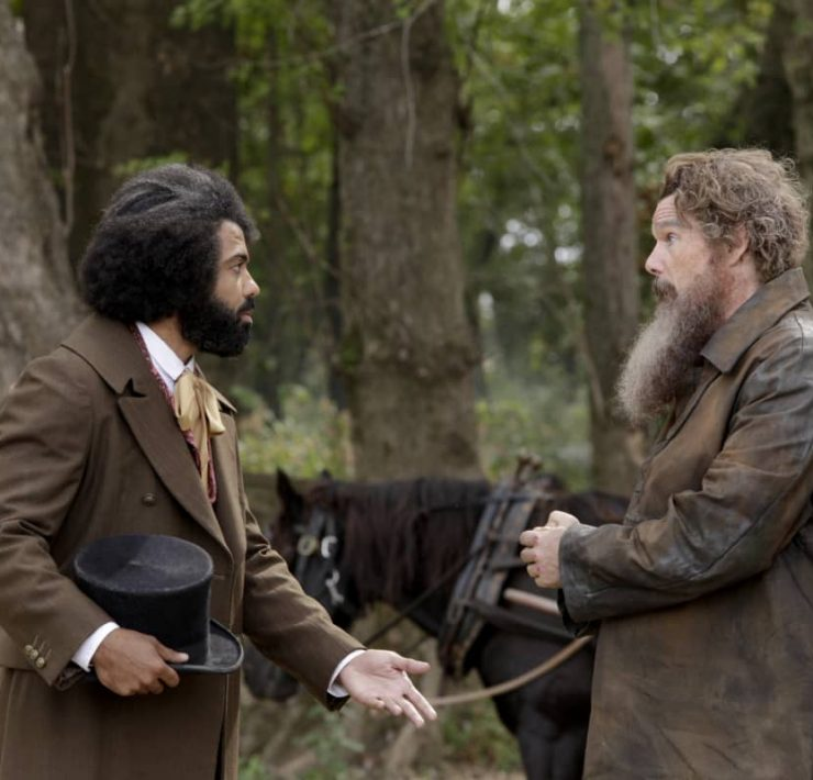 "(L-R): Daveed Diggs as Frederick Douglass and Ethan Hawke as John Brown in THE GOOD LORD BIRD, ""Hiving the Bees"". Photo Credit: William Gray/SHOWTIME."