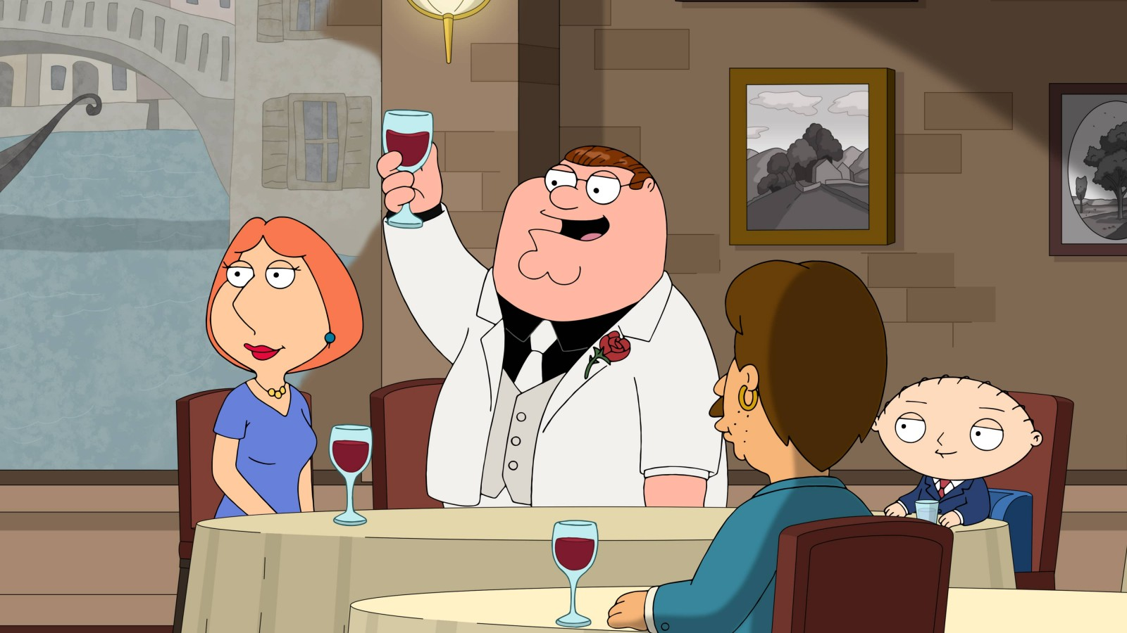 """FAMILY GUY: When Joe asks Peter to be the godfather to his daughter, Peter commits to his mistaken interpretation of the role so much that he becomes a real gangster in the """"La Famiglia Guy"""" episode of FAMILY GUY airing Sunday, Nov. 8 (9:30-10:00 PM ET/PT) on FOX. FAMILY GUY © 2020 by Twentieth Century Fox Film Corporation."""