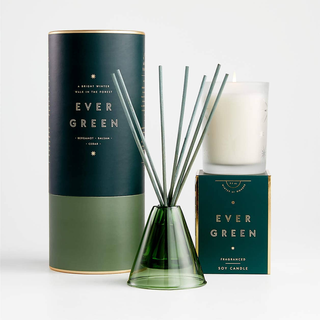 illume ever green boxed candle and reed diffuser