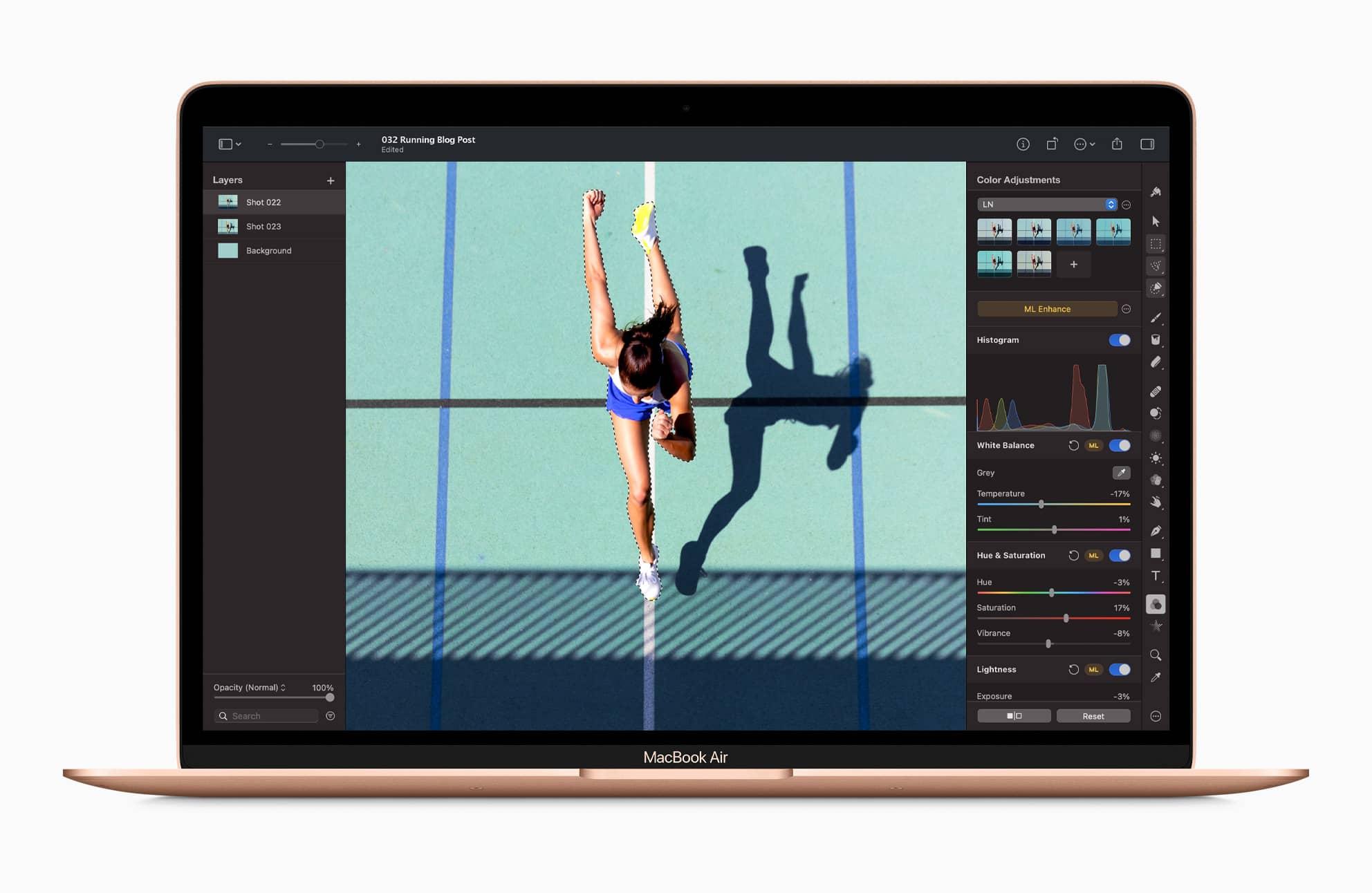 Apple m1 chip macbookair pixelmatorpro screen 11102020